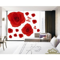 removable wall sticker red rose